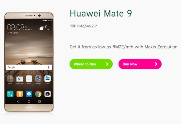 Maxis offers the Huawei Mate 9 from RM999