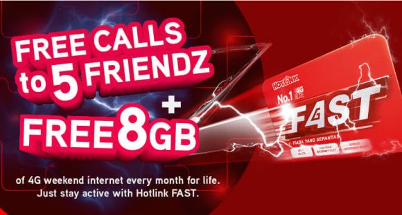 Hotlink Fast Prepaid now comes with free calls to 5 friendz