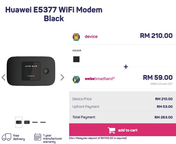 webe broadband is now offering a 4G LTE MiFi modem without contract