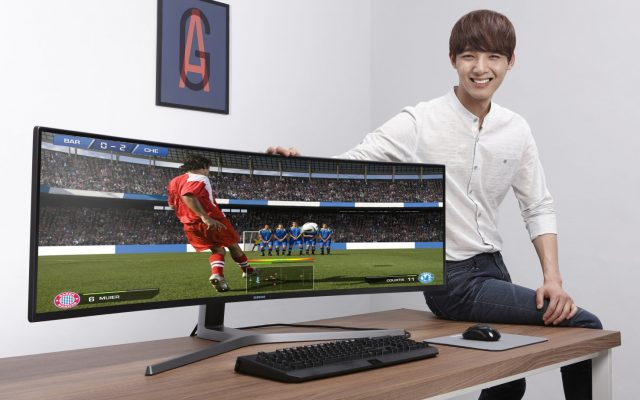 Samsung's 49″ 32:9 super ultra-wide monitor now comes with a Galaxy J7 Pro bundle