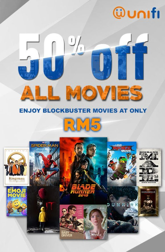 You can watch blockbuster movies for only RM5 on UniFi TV
