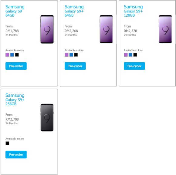 Celcom has all Samsung Galaxy S9 & S9+ models available for