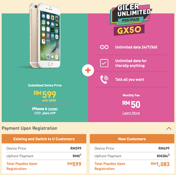 iphone u mobile package u mobile offers the iphone 6 for rm599 on a rm50 unlimited postpaid plan soyacincau
