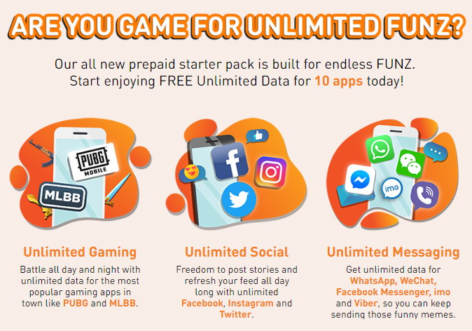 U Mobile Unlimited Funz prepaid offers free unlimited data for 10
