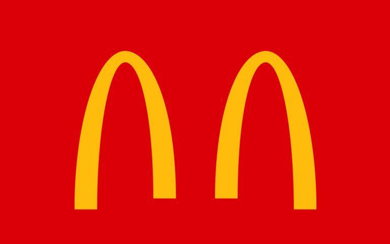 Even the McDonald's logo is practising social distancing