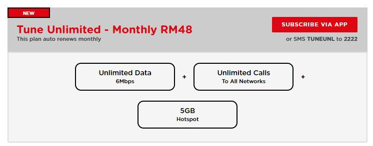 Tune Talk Unlimited RM48